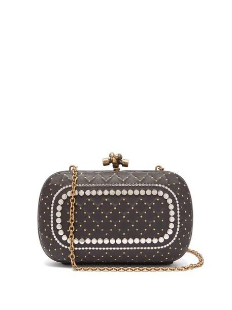 Bottega Veneta - Knot Studded Leather Clutch Bag - Womens - Black Silver