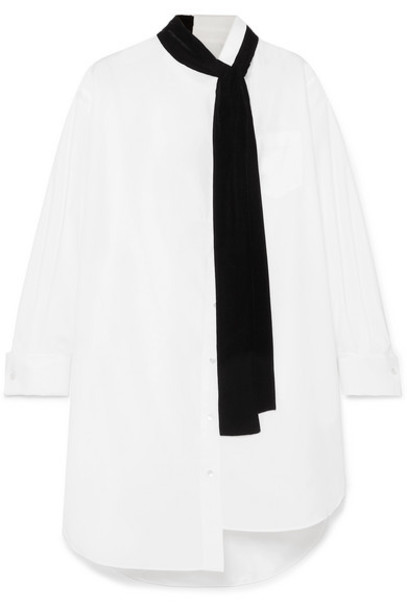 Sacai - Oversized Velvet-trimmed Poplin And Cotton-piqué Dress - White