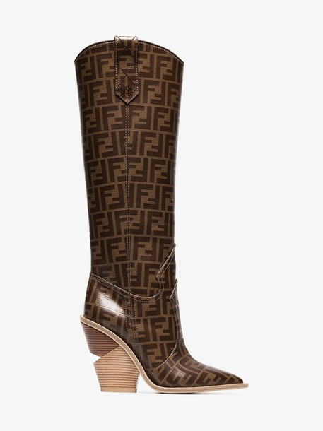 Fendi pointed toe cowboy boots in brown