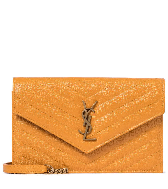 Saint Laurent Envelope Small leather shoulder bag in yellow
