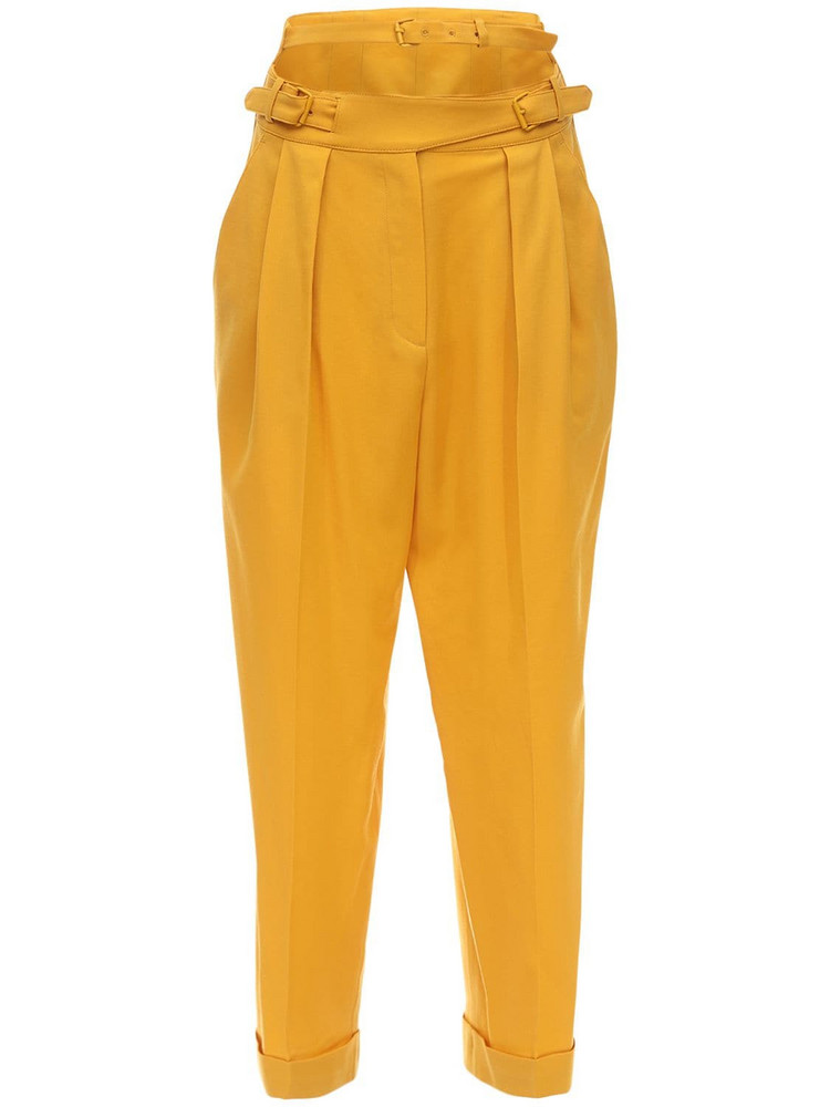 PUSHBUTTON Structured Cool Wool Straight Pants in yellow