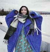 coat,cobalt blue,purple,nini,oversized