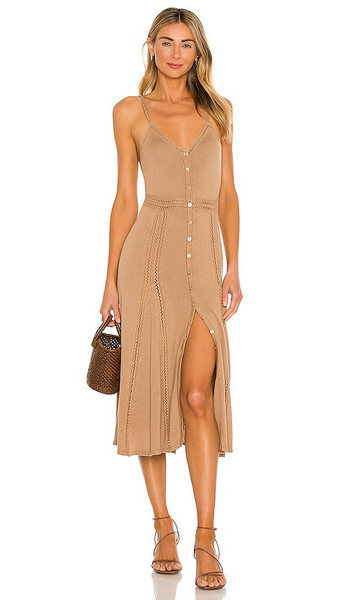 LPA Annalise Dress in Tan in camel