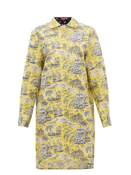 Staud - Corgi Tropical-print Cotton-blend Shirtdress - Womens - Yellow
