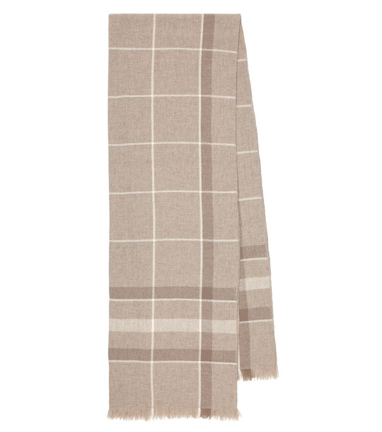Loro Piana East River checked cashmere scarf in beige