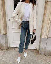 jacket,blazer,mules,high waisted jeans,white t-shirt,black bag,cropped jeans