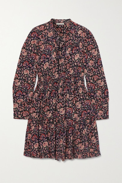 Ulla Johnson - Liv Ruffled Tiered Floral-print Cotton-blend Voile Mini Dress - Plum