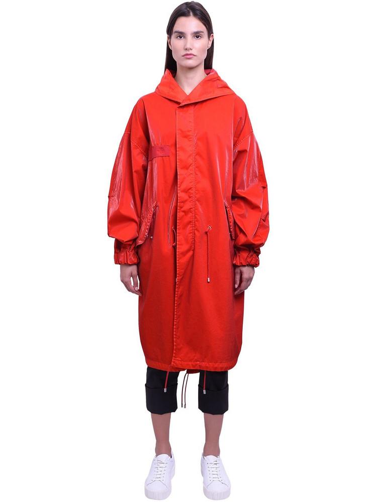 MR & MRS ITALY Long Cotton Velvet Tech Parka Coat in red