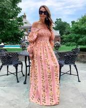 dress,maxi dress,floral dress,pink dress,long sleeve dress,summer dress