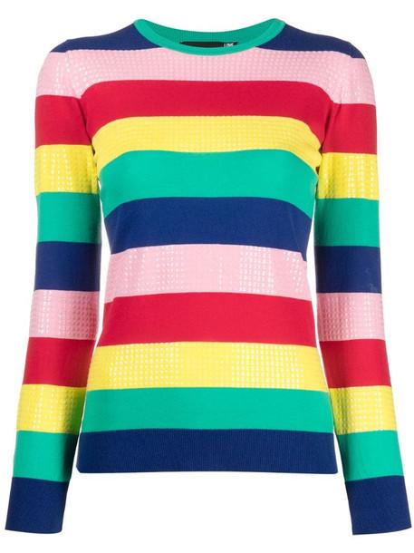 Love Moschino striped round neck jumper in blue