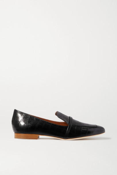 Malone Souliers - Jane Croc-effect Leather Loafers - Black