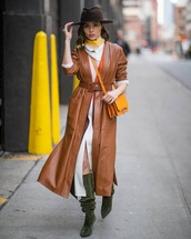 shoes,knee high boots,suede boots,heel boots,brown coat,leather,long coat,white dress,slit dress,long cardigan,bag,scarf,hat