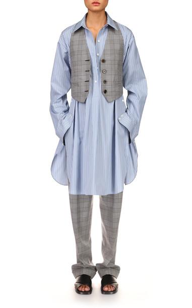 Michael Kors Collection Organic Cotton Tunic Shirtdress in blue