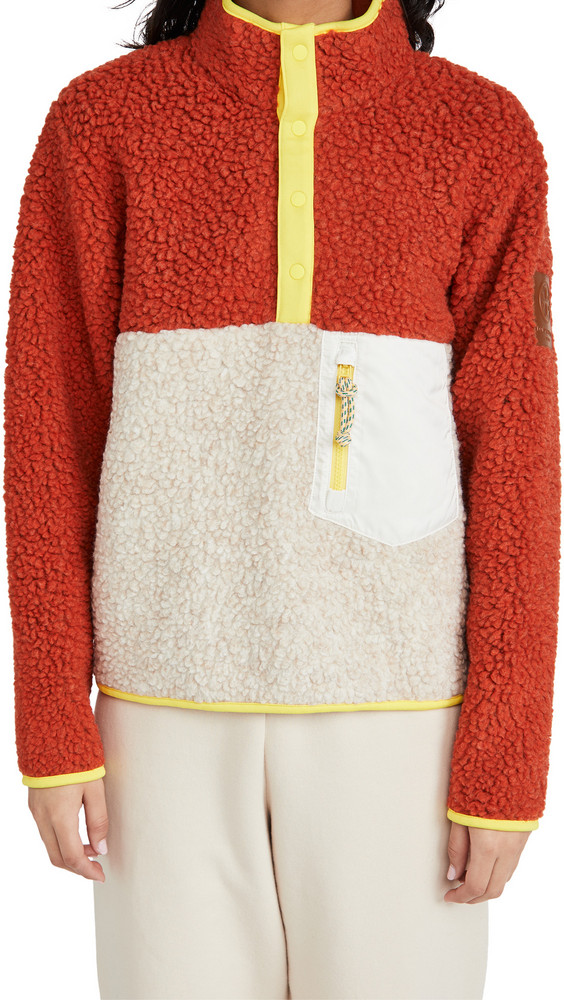 Tory Sport Sherpa Fleece Pullover Jacket in natural / red