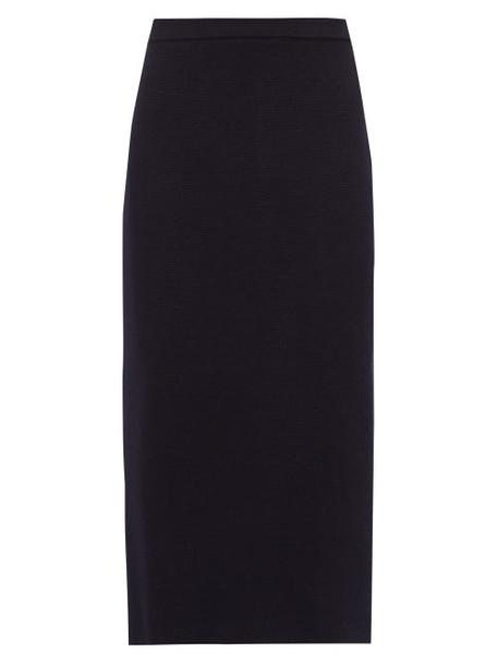 Alessandra Rich - Wool Pencil Skirt - Womens - Navy