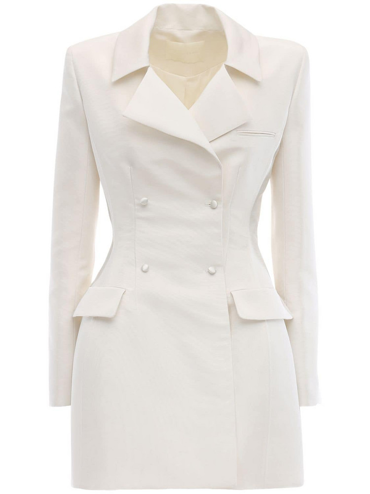 DANIELLE FRANKEL Double Breasted Silk Faille Jacket Dress in ivory