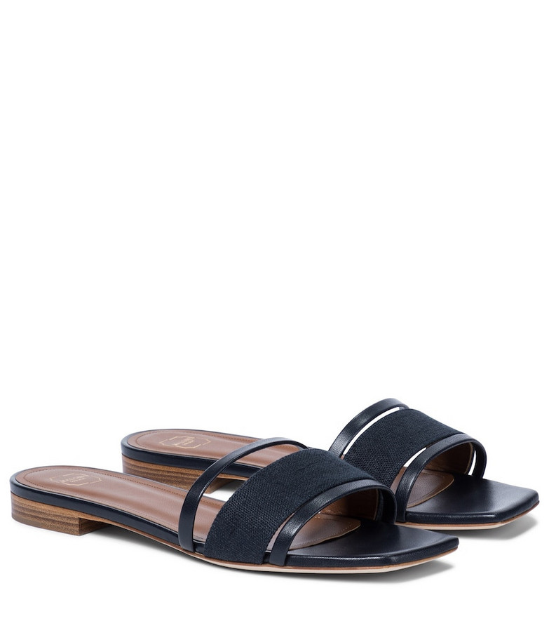 Malone Souliers Demi linen and leather sandals in blue