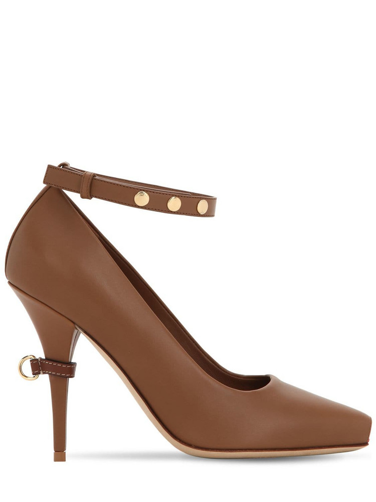 BURBERRY 105mm Jermyn Open Toe Leather Pumps in tan