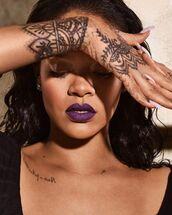 make-up,rihanna,lipstick,lips,dark lipstick