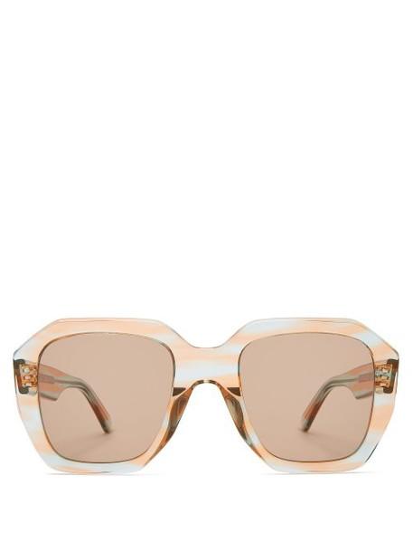 Celine Eyewear - Oversized Acetate Sunglasses - Womens - Blue Multi