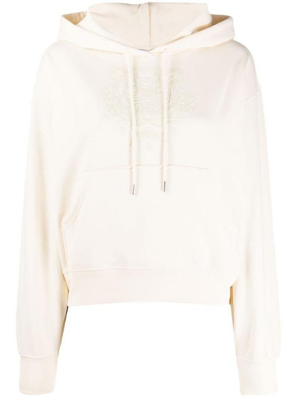 Kenzo cotton hoodie with tiger flocking in neutrals
