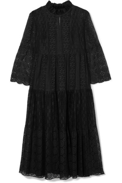 Anna Sui - Crocheted Cotton-blend Lace Midi Dress - Black