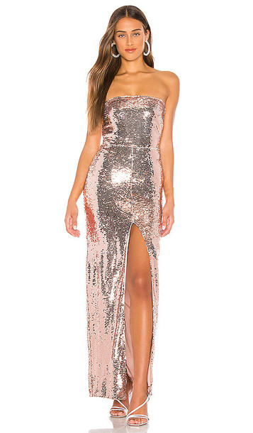 Lovers + Friends Lovers + Friends Pico Gown in Pink,Metallic Gold