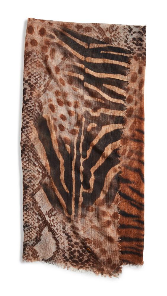 Franco Ferrari Cheetah Patch Scarf in brown