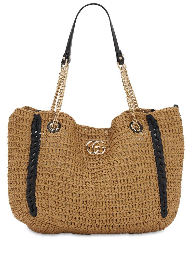 GUCCI Large Gg Marmont Crochet Bag in black / natural