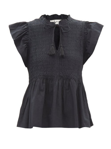 Sea - Rene Smocked Cotton-lawn Top - Womens - Black