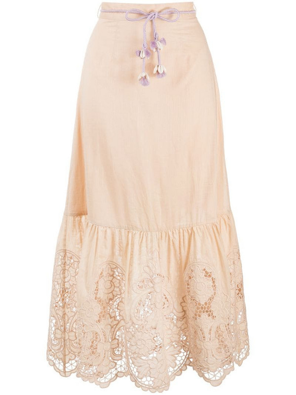 Zimmermann floral-lace a-line midi skirt in neutrals