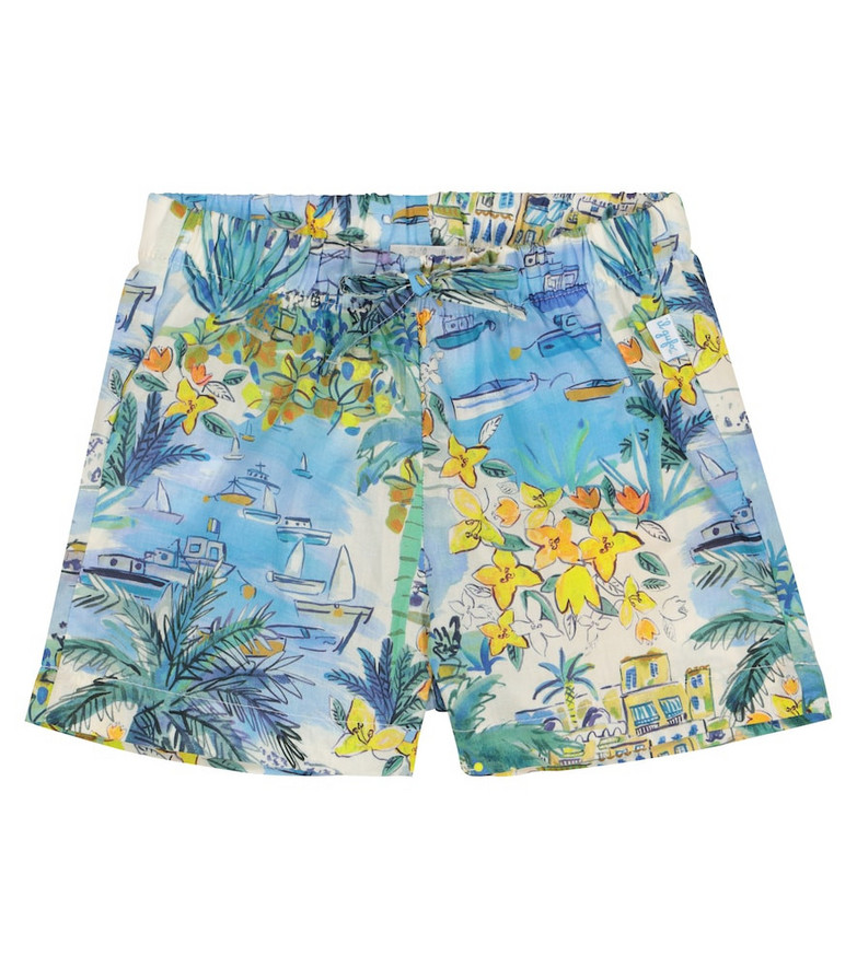 Il Gufo Baby printed cotton shorts in blue