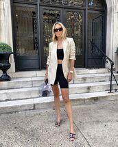 jacket,blazer,double breasted,black leggings,slide shoes,chanel,crop tops