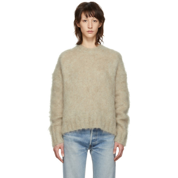 Helmut Lang Beige Brushed Crewneck Sweater