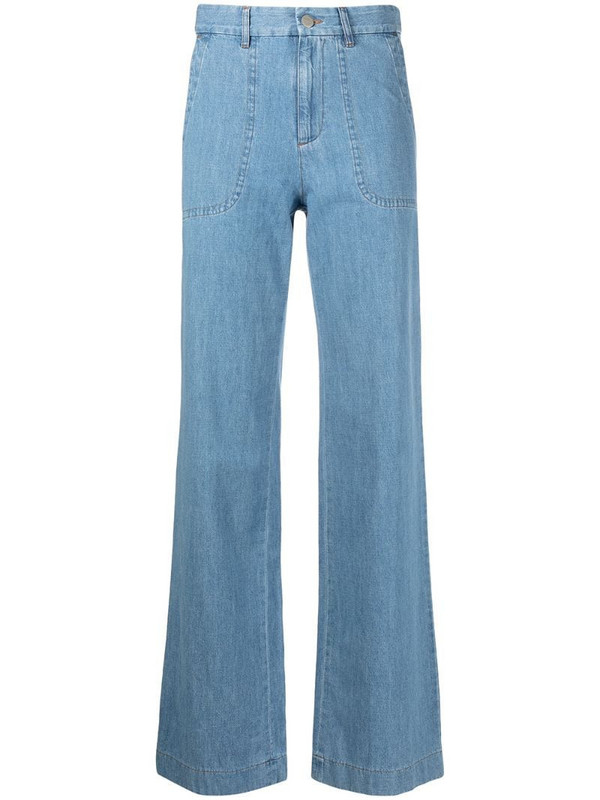 A.P.C. high-waisted wide-leg jeans in blue