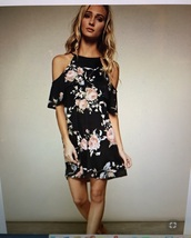 dress,black floral cold shoulder
