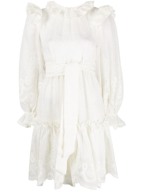 Zimmermann Lovestruck Rope frilled polka-dot dress in white