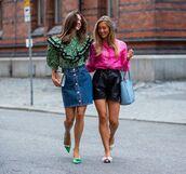 skirt,mini skirt,denim skirt,blouse,floral,streetstyle,leather shorts