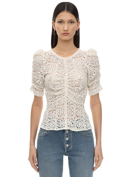 CAFTANII Ruffled Cotton Blend Lace Top in white