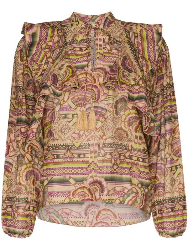 Chufy Nina printed cotton and silk-blend blouse in neutrals