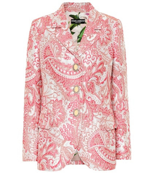 Dolce & Gabbana Metallic silk-blend jacquard jacket in pink