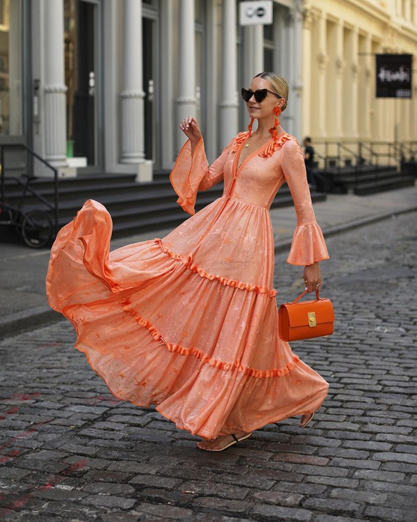 dress maxi dress orange dress handbag long dress flat sandals
