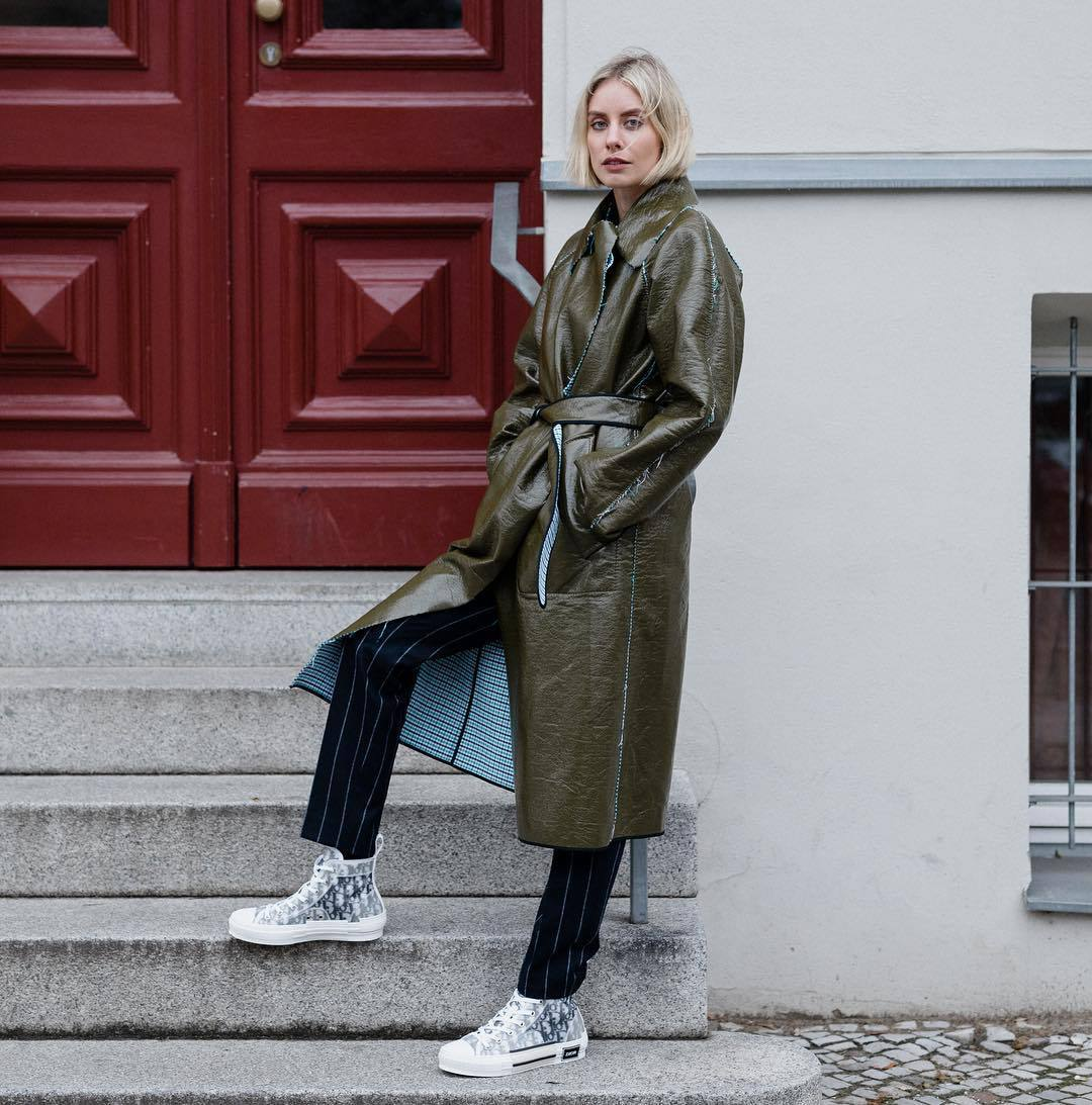 coat long coat green coat dior shoes striped pants black pants casual streetstyle