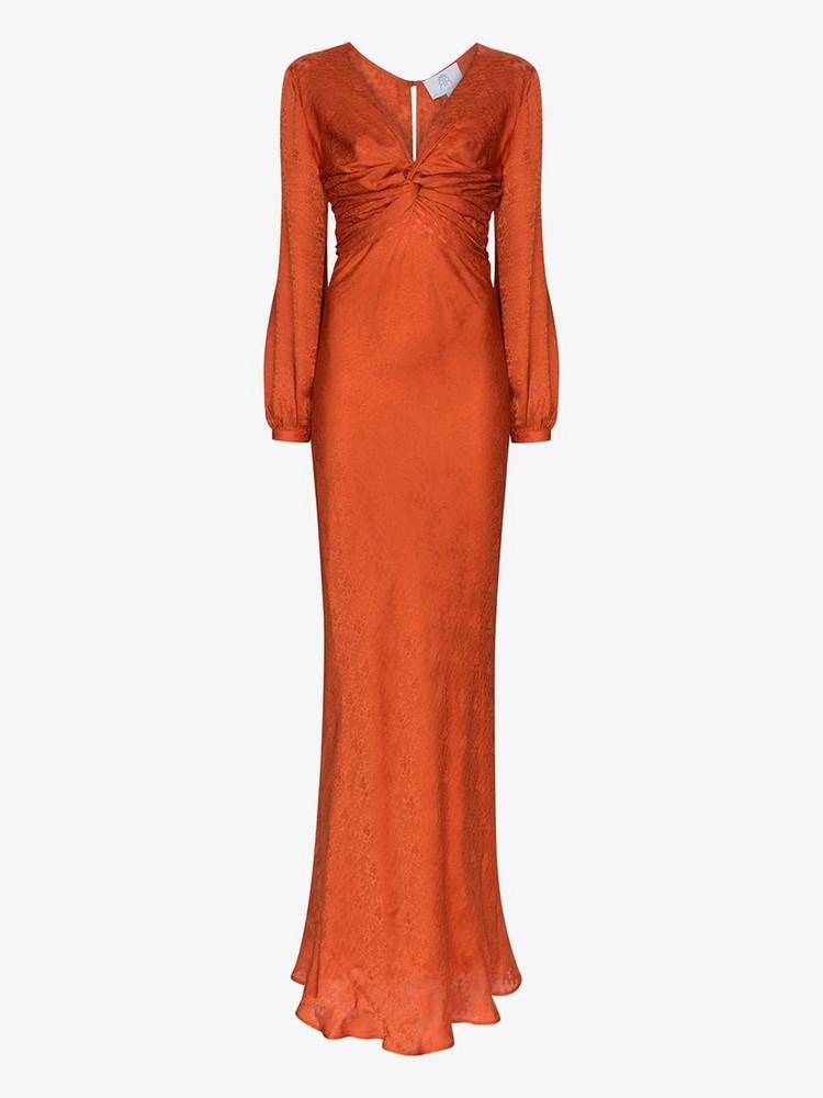 Rebecca De Ravenel Floral jacquard gathered gown in orange