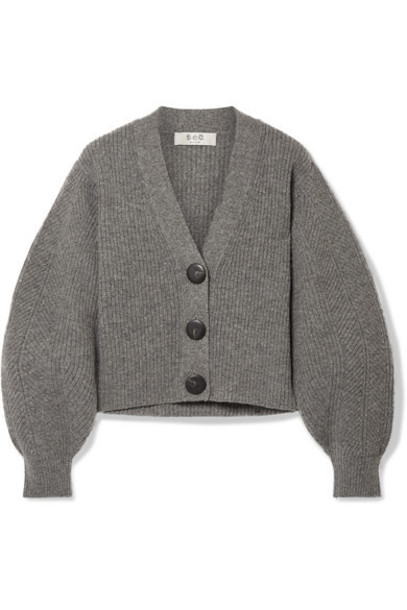 SEA - Nellie Ribbed Wool Cardigan - Gray