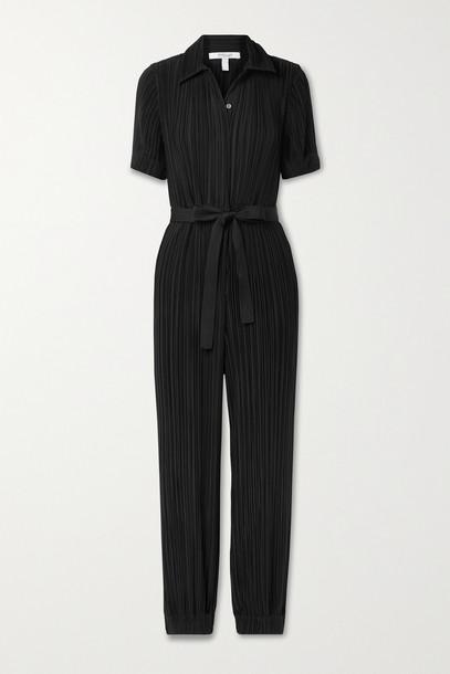 DEREK LAM 10 CROSBY - Duncan Belted Plissé-crepe Jumpsuit - Black