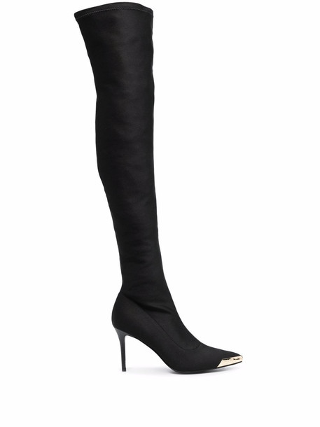 Versace Jeans Couture cap-toe thigh boots - Black