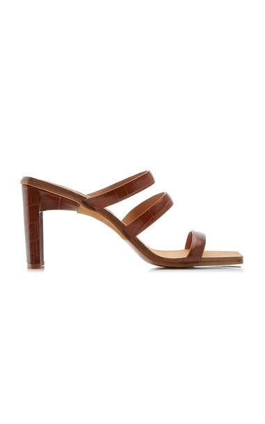 Miista Joanne Croc-Embossed Leather Sandals in brown