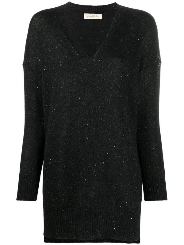 Gentry Portofino metallic knit v-neck jumper in black