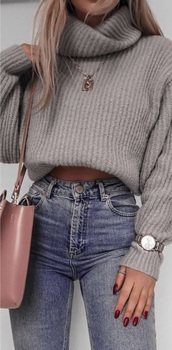 top,jumper,grey,knitwear,knitted top,cute